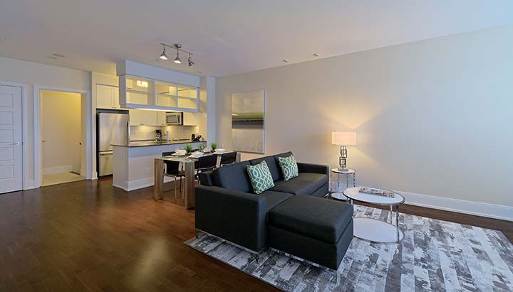 Etobicoke apartments for rent parc nuvo townhouse living room and kitchen