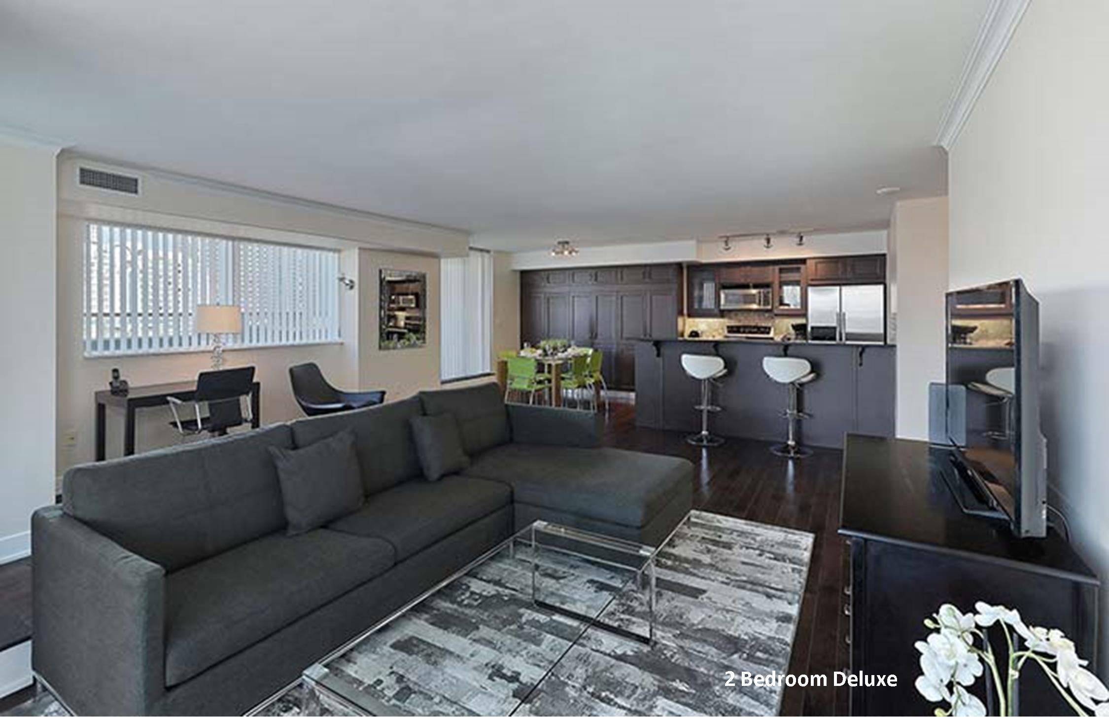 Element 2 Bedroom Deluxe Furnished Suites in Toronto Living Room